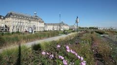 plants along the garonne river in bordeaux, france - stock footage