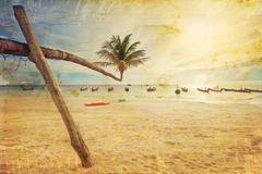 exotic tropical beach in retro style - stock photo