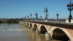 View of the stone bridge in bordeaux - france Stock Footage