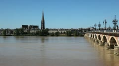 view of the stone bridge in bordeaux - france - stock footage