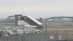 Japanese jetfighter landing on air base Stock Footage