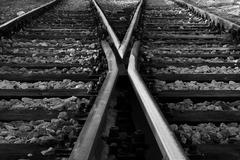 crossed the railway tracks - stock photo