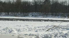 Panoramic view of frozen river neris in winter and floating floe Stock Footage