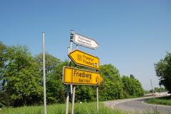 German road signs - stock photo