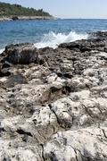 rocky coast of croatia - stock photo