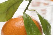 A mandarin with leaves Stock Photos