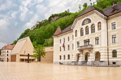 The building of parliaments of liechtenstein on the main square. vaduz. europ Stock Photos