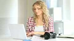 Photographer preparing shooting board Stock Footage