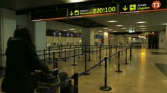 Girl with baggages departure area Stock Footage