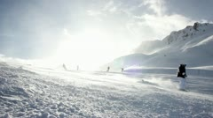 Hill skiing ischgl Stock Footage