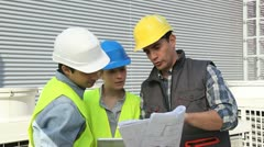young people in professional training on industrial site - stock footage