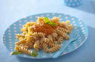 Fusilli with tomato sauce Stock Photos