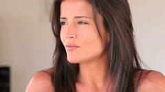 Portrait of beautiful brunette girl Stock Footage