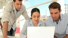 Group of people in office with laptop Stock Footage