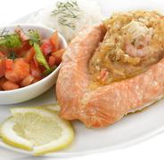 stuffed salmon - stock photo