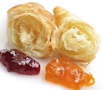 fresh croissant and jam - stock photo