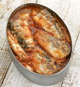 tinned sardines in tomato sauce - stock photo
