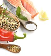 Stock Photo of slice of salmon and wild rice