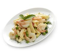 pasta with shrimps - stock photo