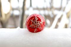 Christmas ball snow flake - stock photo
