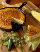 Skillet Jalapeno Cornbread with Slice Removed Stock Photos