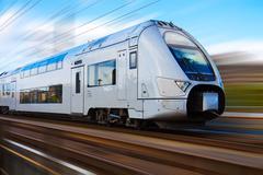 Modern high speed train with motion blur Stock Photos