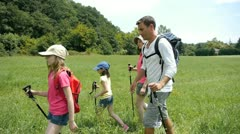 family on hiking day - stock footage