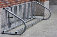 Stock Photo of empty bicycle rack with lock