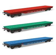 Set of railroad flatcars - stock photo