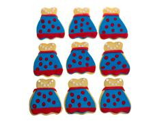 nine decorated apron cookies - stock photo