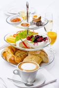 French breakfast with cafe au lait - stock photo