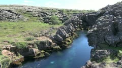 Iceland Pingvellir rift with waterfall Stock Footage
