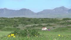 Iceland Pingvellir tent and mountains Stock Footage