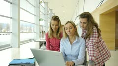 Students and teacher in training course Stock Footage
