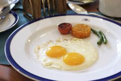 Fried egg with potato cakes - stock photo