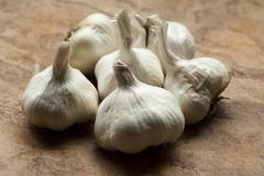 Six Whole Garlic Bulbs Stock Photos