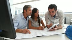 Team of architects working in office Stock Footage
