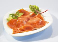 Sliced smoked salmon - stock photo