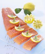 Salmon fillet with lemon slices Stock Photos