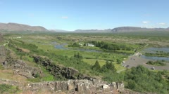 Iceland Pingvellir valley with stream and buildings Stock Footage