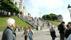 sacre coeur basilica in montmartre - stock footage