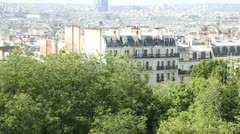 General view of paris from montmartre hill Stock Footage
