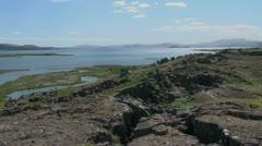 Iceland Pingvellir view of lake Stock Footage