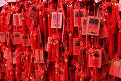 Red Buddhist prayer tablets. Stock Photos