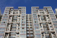 Tall apartment buildings. Stock Photos