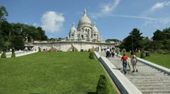 stairs going up to the sacred-heart basilica of montmartre - stock footage