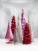 Collection of Decorative Christmas Trees Stock Photos