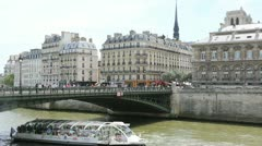 Bateau-mouche cruising on the seine river Stock Footage