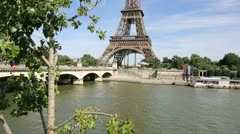 View of the eiffel tower from the seine riverbanks Stock Footage