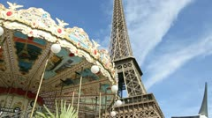 Paris - circa july 2012: carousel with the eiffel tower on the background cir Stock Footage